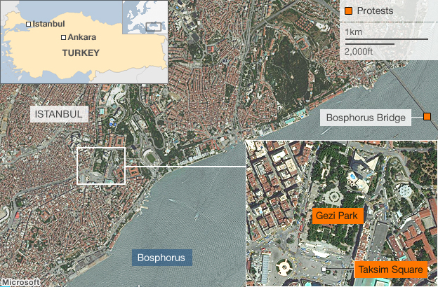 The location of the protests in Istanbul.