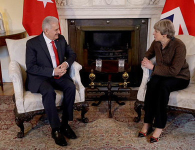 Prime Minister Theresa May and Turkish Prime Minister Yildirim meet in London